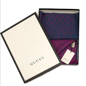 Gucci GG Logo Soft Wool Bi-color Scarf Wrap Shawl